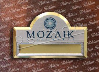 7cm x 4.5cm Altın Kubbeli Cepli Metal Yaka Kartı PL-45