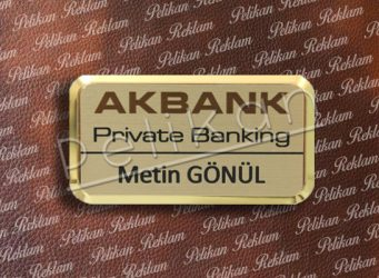 6cm x 3.3cm Altın Metal Yaka Kartı PL-48